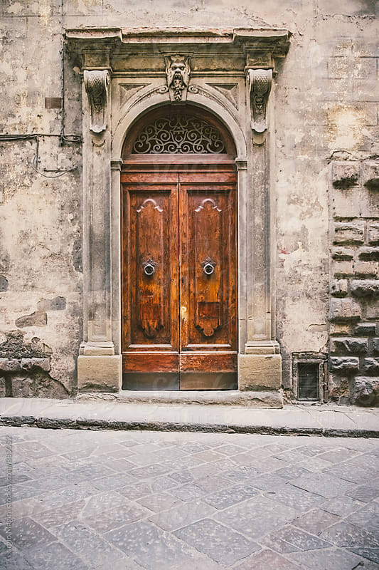 Dark Wooden Door in Italian Alley by Giorgio Magini for Stocksy United