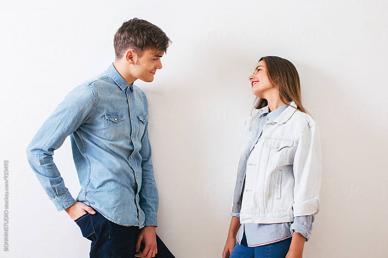 Couple in love wearing denim clothes. by BONNINSTUDIO for Stocksy United