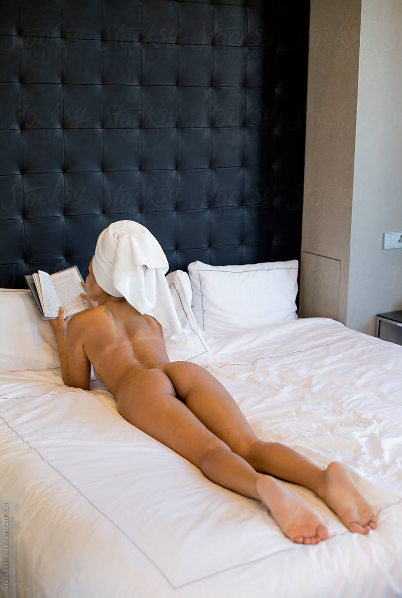 nude woman on bed, reading by Rene de Haan - Nude, Reading ...