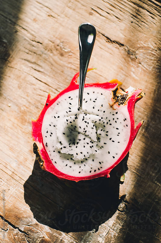 Dragon Fruit on Wooden Background by Marija Savic for Stocksy United