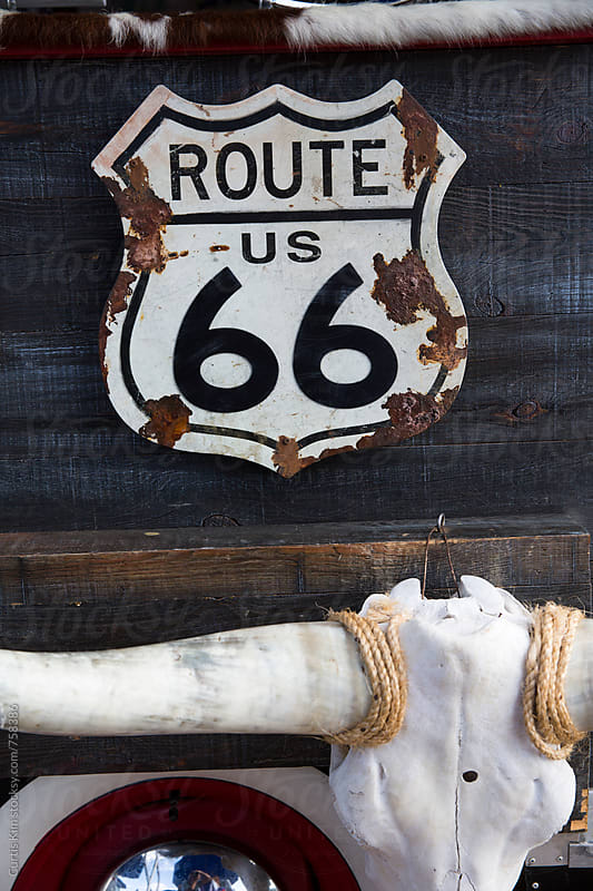 Route 66 sign by Curtis Kim for Stocksy United