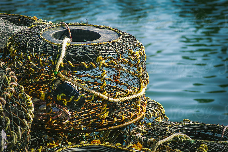 Cray Fishing Baskets at the Marina by Rowena Naylor for Stocksy United