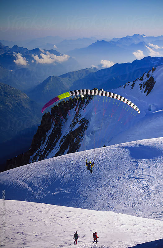 Man paragliding from summit of Mt Blanc in Chamonix France by Soren Egeberg for Stocksy United