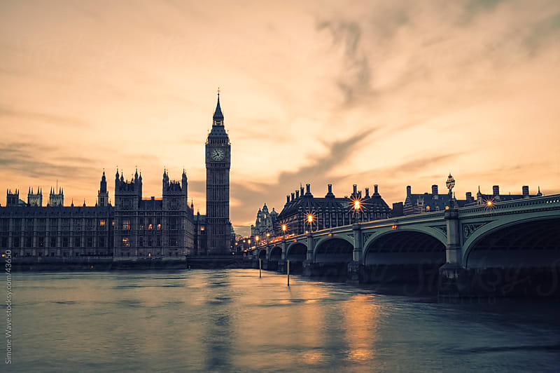 Big Ben and bridge at sunset - London by Simone Becchetti for Stocksy United