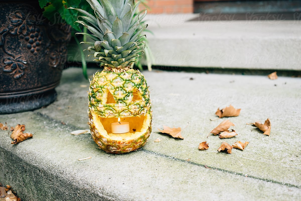 Stock Photo - Pineapple Jack-O'-Lantern