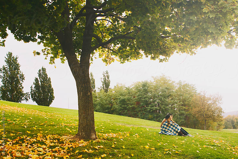 couple wrapped in blanket sit under tree in autumn by Tana Teel for Stocksy United