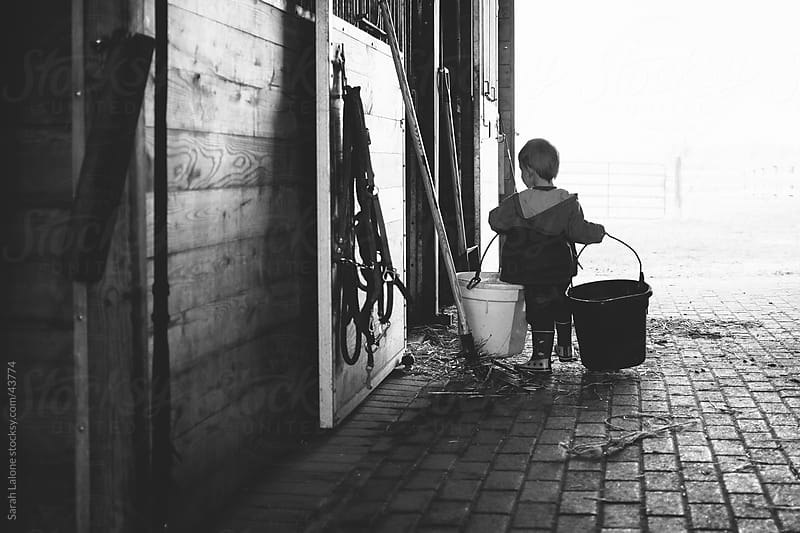 A little boy carrying horse buckets into a horse stall in a barn. by Sarah Lalone for Stocksy United