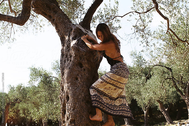 Climbing on a tree by Aleksandra Martinovic for Stocksy United
