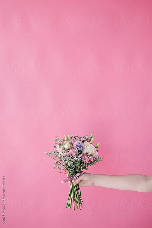 Beautiful bunch of wildflowers on pink background by Danil Nevsky for Stocksy United