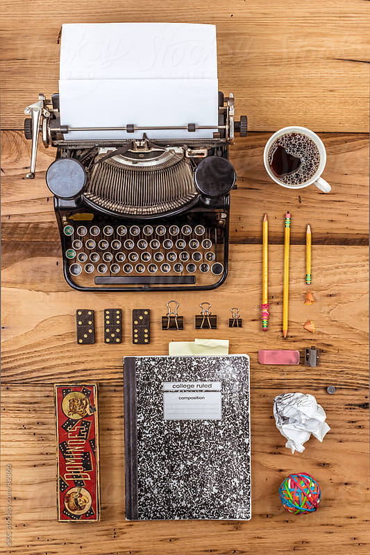 Antique Typewriter on an Author's Desk Top with Composition Book and Writing Impliments by suzanne clements for Stocksy United