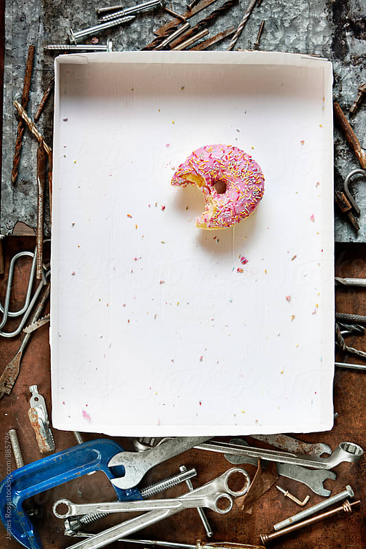 One doughnut on a tray in a workshop by James Ross for Stocksy United
