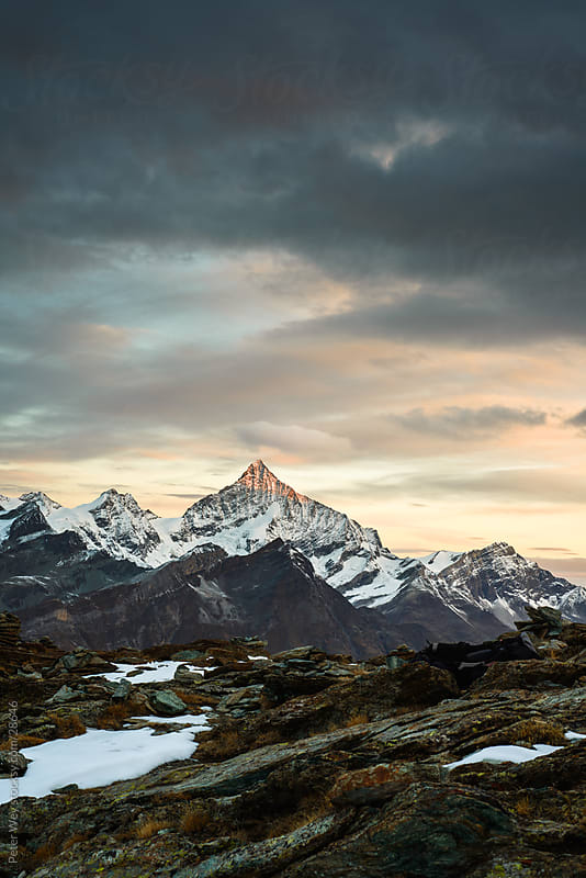 Weisshorn at sunrise by Peter Wey for Stocksy United