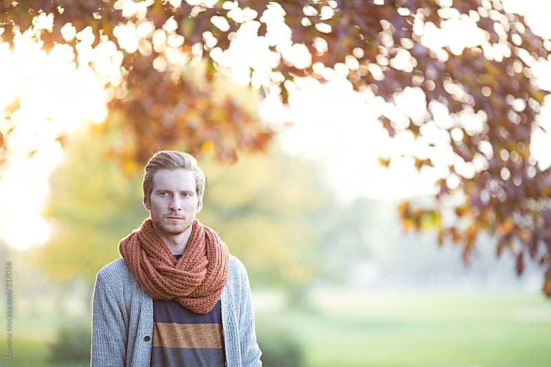 Ginger-Haired Man Outdoors in Autumn by Lumina for Stocksy United