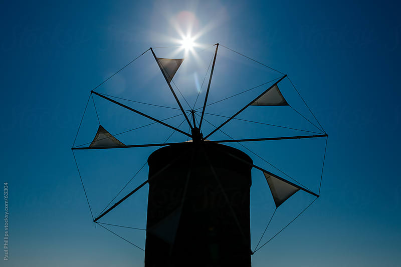 Old windmill, Rhodes, Greece by Paul Phillips for Stocksy United