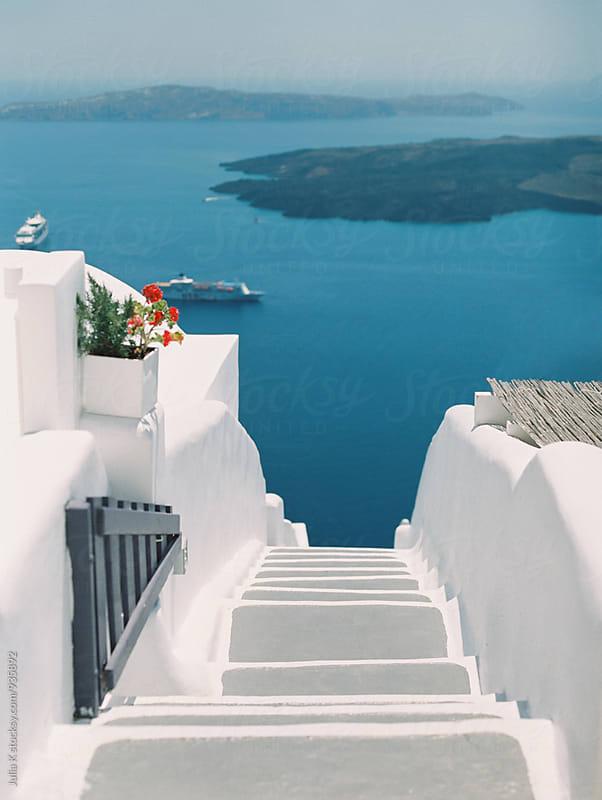 Stairs on Santorini island, Greece by Julia Kaptelova for Stocksy United
