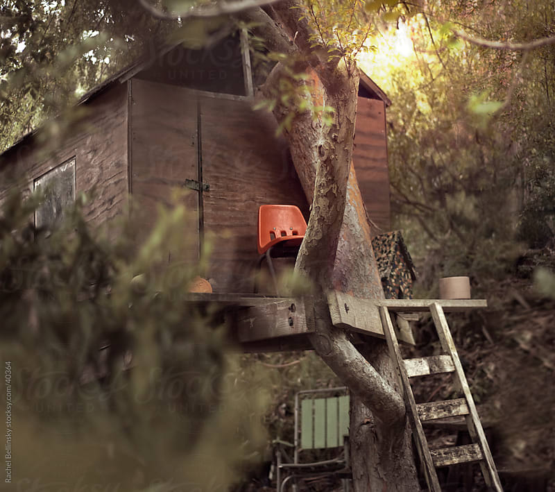 Wooden tree house with plastic orange chair and rickety ladder by Rachel Bellinsky for Stocksy United