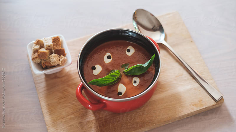 Tomato Soup with Croutons by Branislav Jovanović for Stocksy United