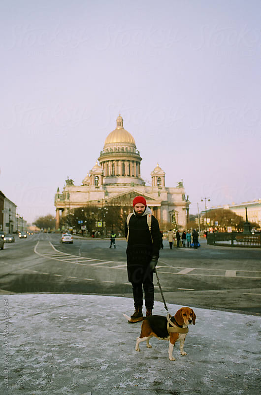 Winter walk with the dog by Liubov Burakova for Stocksy United