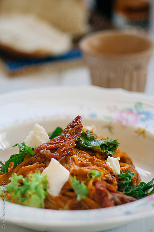 Red pesto pasta. by Darren Muir for Stocksy United
