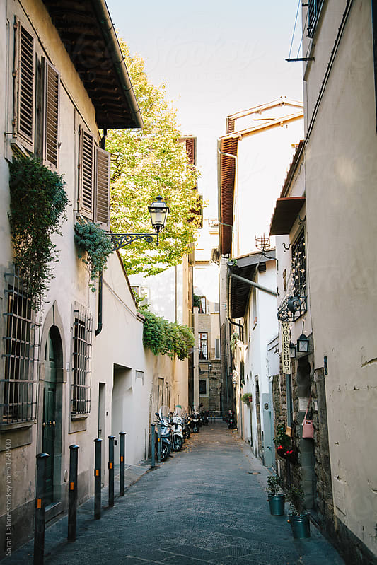 view down a narrow florentine street in autumn by Sarah Lalone for Stocksy United