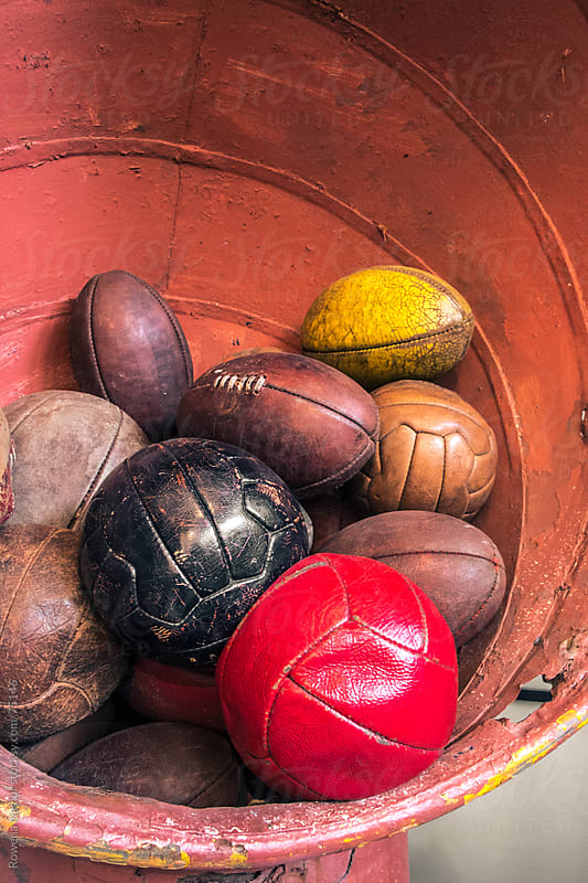 Collection of Old Soccer Balls by Rowena Naylor for Stocksy United