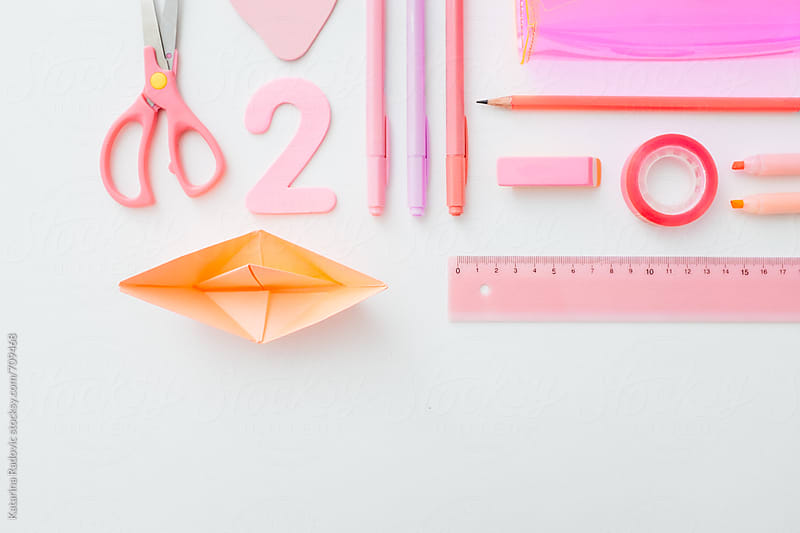 Pink and Girlish School Items  by Katarina Radovic for Stocksy United
