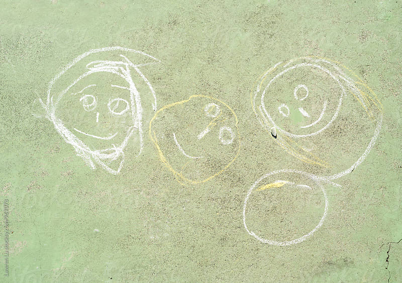 Child's drawing on cement floor by Lawren Lu for Stocksy United
