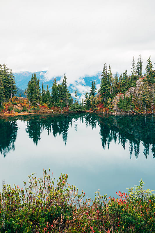Alpine Lake Reflection In Mount Baker National Forest And Wilderness by Luke Mattson for Stocksy United