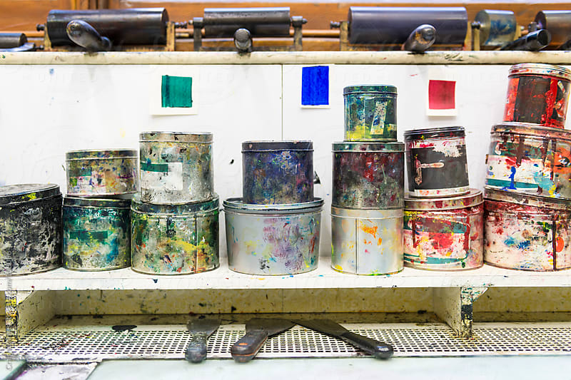 Traditional Printing Studio. Tins of paints and rollers used in the printing process. by Craig Holmes for Stocksy United