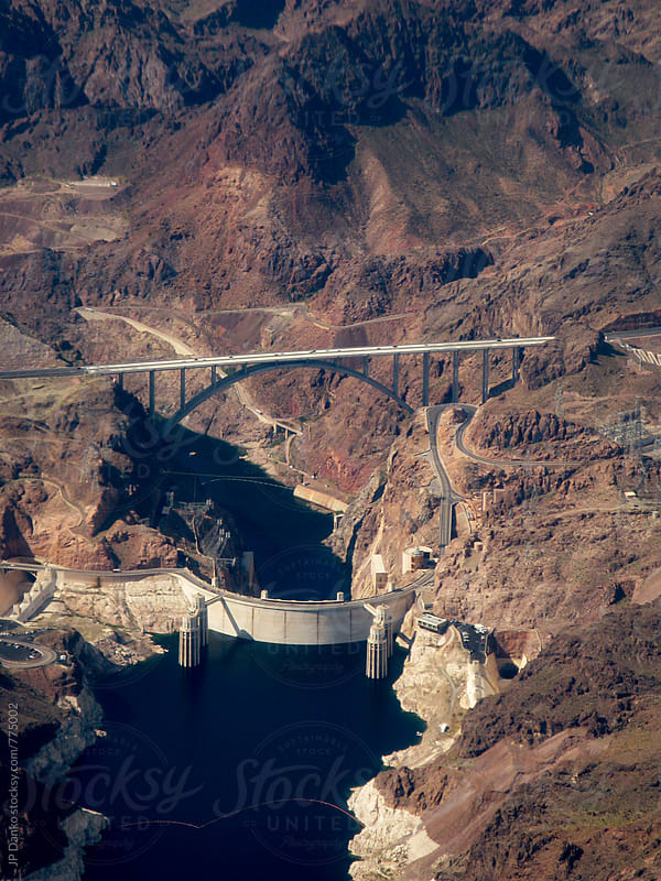 Hoover Dam and Lake Mead On Approach To Las Vegas Airport from Commercial Flight by JP Danko for Stocksy United