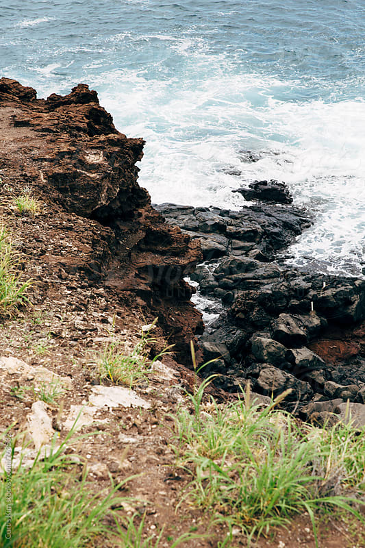 Views from a rocky cliff in Maui, Hawaii by Curtis Kim for Stocksy United