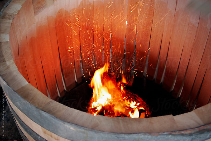 Sparkling flames in the middle of an oakwood barrel whilst toast by Ferenc Boros for Stocksy United