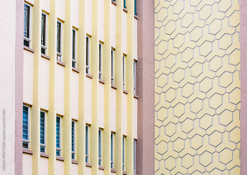 Detail of Hexagonal Retro Building Facade by VISUALSPECTRUM for Stocksy United