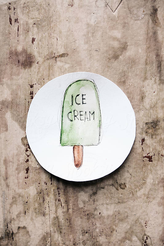 Sketch of an ice cream on paper by Giada Canu for Stocksy United