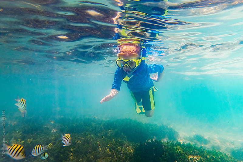 Little Boy Snorkeling On Tropical Reef In Cuba Caribbean Island  by JP Danko for Stocksy United