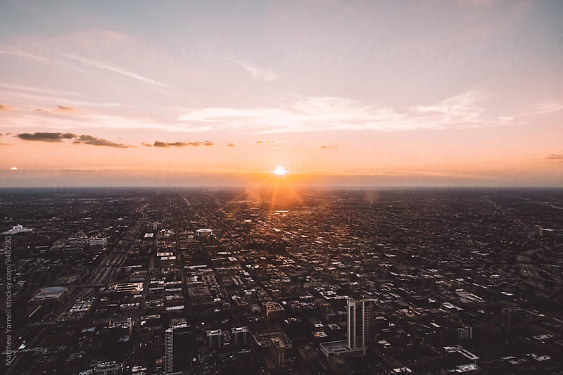 Sunset over Chicago by Matthew Yarnell for Stocksy United