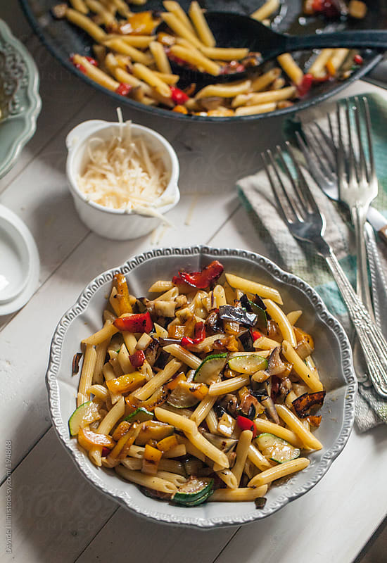 Pasta with mixed vegetables by Davide Illini for Stocksy United