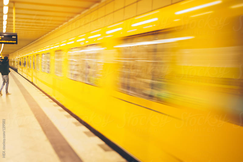 Underground Train in Motion Blur by HEX. for Stocksy United
