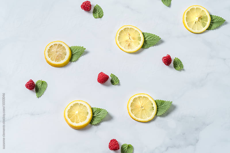 Flavor Pattern with Lemon, Mint and Raspberries by suzanne clements for Stocksy United