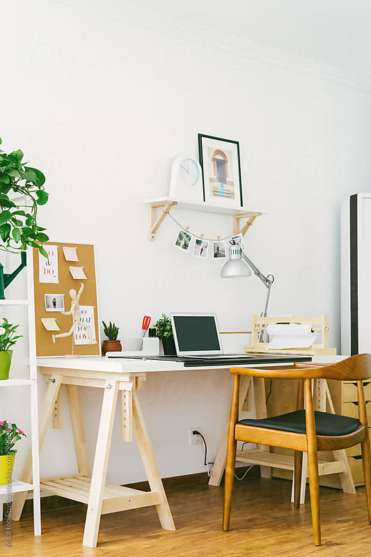 Home office with laptop by Maa Hoo for Stocksy United