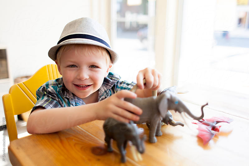Little Boy Playing with Animal Toys  by JP Danko for Stocksy United