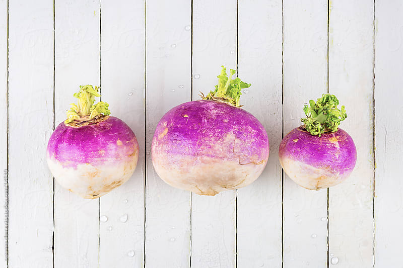 Three Fresh Organic Turnips  by suzanne clements for Stocksy United