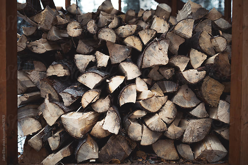 Wood Pile Near Cabin by Jake Elko for Stocksy United