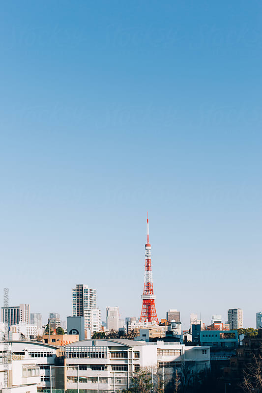 View on Tokyo Tower on Sunny Day by Julien L. Balmer for Stocksy United