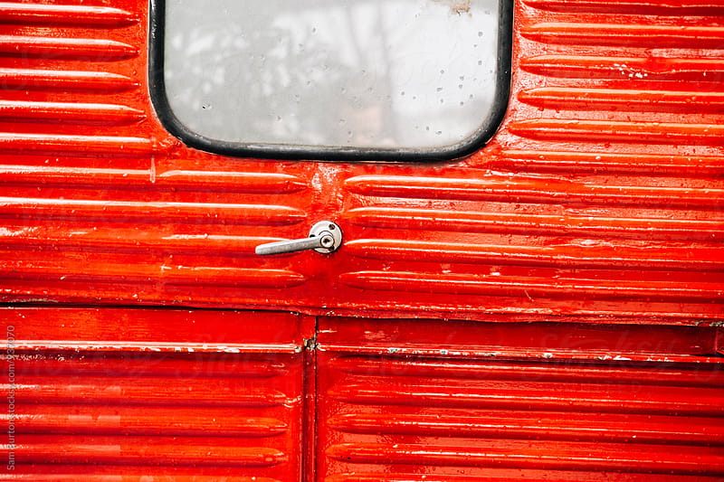 Red vintage van by Sam Burton for Stocksy United