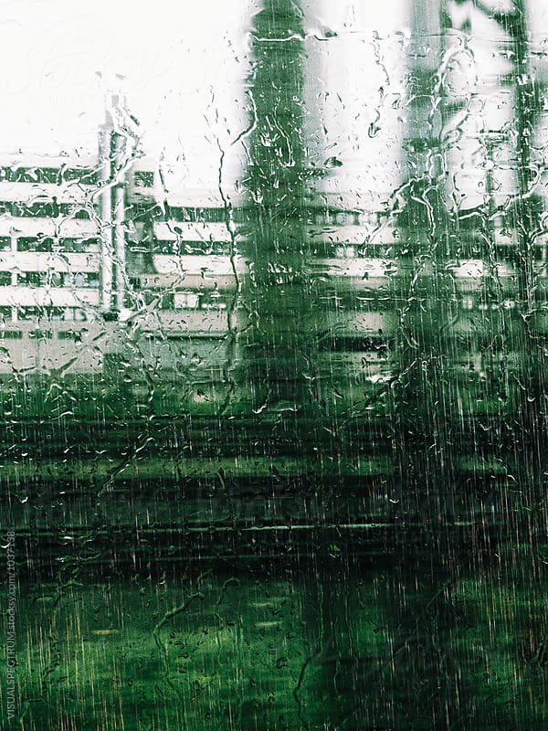 Heavy Rain and Rain Drops Through Train Window by VISUALSPECTRUM for Stocksy United