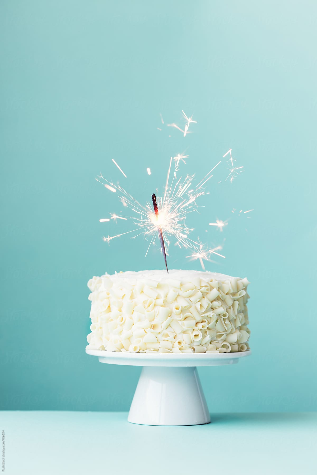 Astounding Cake With White Chocolate Curls And Sparkler By Ruth Black Cake Funny Birthday Cards Online Fluifree Goldxyz