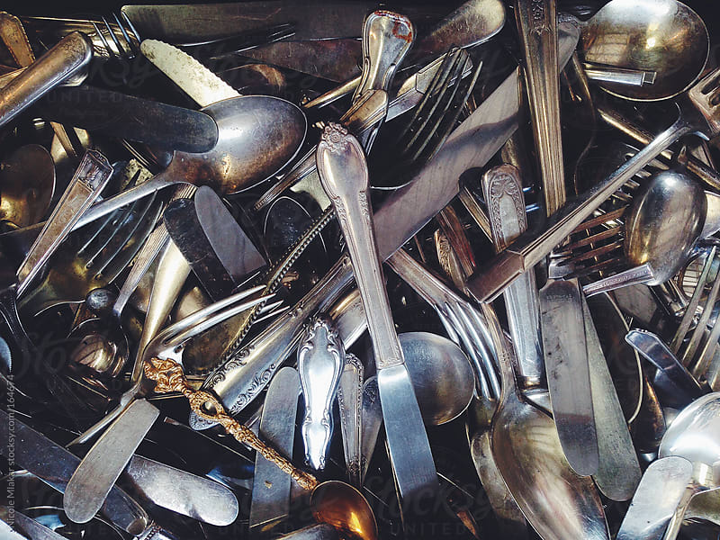 Bunch of antique silverware by Nicole Mlakar for Stocksy United