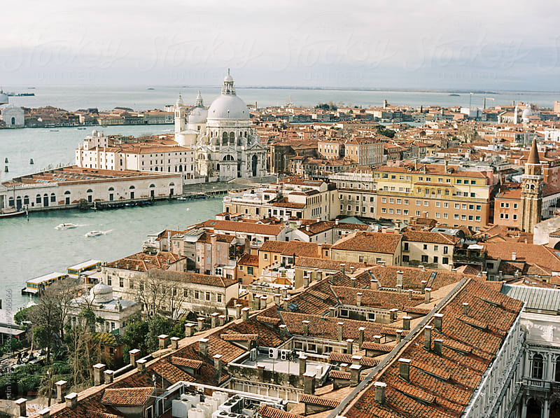 Elevated view of the Grand Canal from St Mark's Campanile by Kirstin Mckee for Stocksy United
