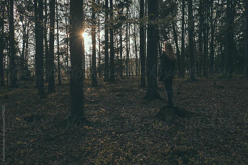 woman stading in forest during sunset by Paul Schlemmer for Stocksy United